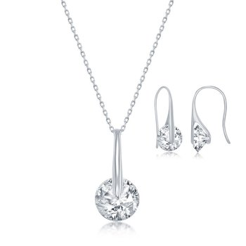 - Sterling Silver Spinning Round CZ Stone Necklace and Earrings Set