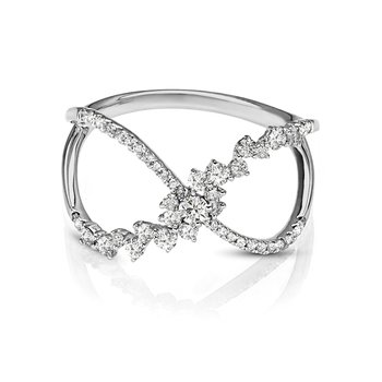 - 3/8ct. Diamond 14k Gold Criss-Cross Floral Flower Negative Space Ring