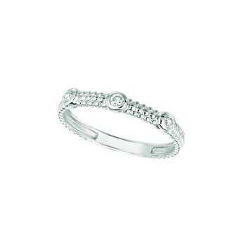 14K Gold 0.09ctw. Diamond 3-Stone Stackable Beaded Anniversary Wedding Band Ring