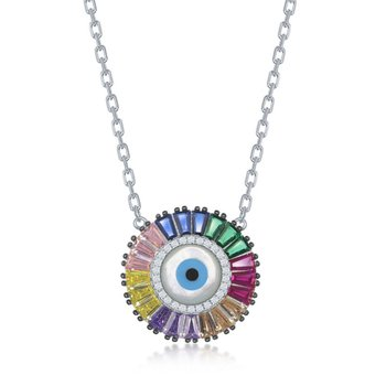 "- Sterling Silver Multi-Color Rainbow Baguette CZ Evil Eye Disc Necklace - 16"""