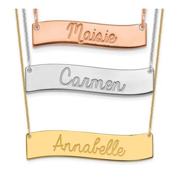 """14k Gold Personalized Nameplate Wavy Name Bar with 18""""x1mm Cable Chain Necklace"""