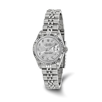 : Pre-Owned Independently Certified Rolex Ladies Datejust Two-Tone Steel/18k with Silver Tone Diamond Dial, and Jubilee Band