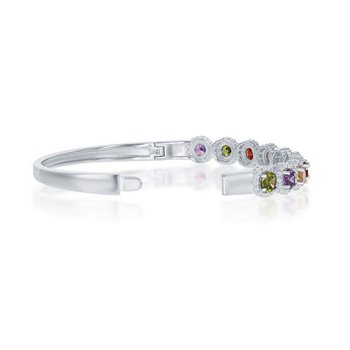 - Sterling Silver Halo Multi-Color Rainbow CZ Bangle Bracelet