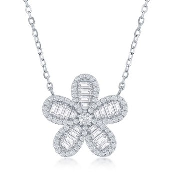 Sterling Silver Baguette and Round CZ Floral Chain Necklace and Earrings Set