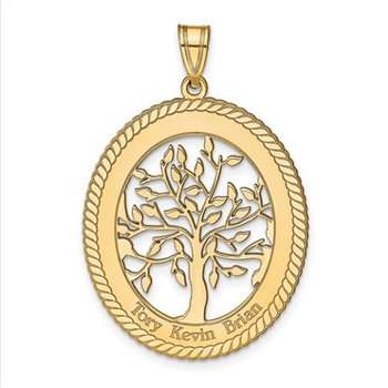 14k Gold Personalized 34x27mm Oval Three Names Family Tree Pendant