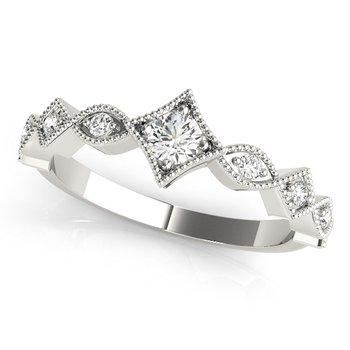 0.25ctw. Diamond Anniversary Wedding Stackable Milgrain Ring Band