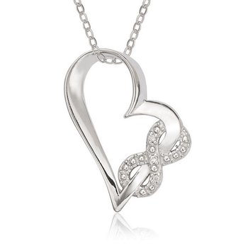- Sterling Silver Open Heart with Pave and CZ Infinity Intertwined Pendant