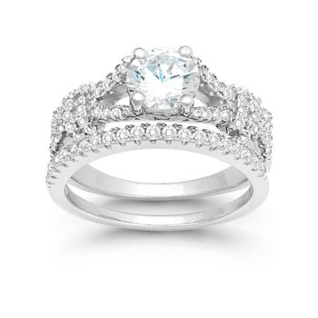 Sterling Silver CZ Wedding Band and Engagement Ring Set