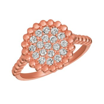 14k Gold 0.50ctw. Diamond Beaded Round Cocktail Anniversary Ring