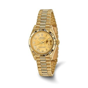 : Pre-Owned Independently Certified Rolex 18k Yellow Gold Ladies Datejust President with Champagne Roman Numerals Dial