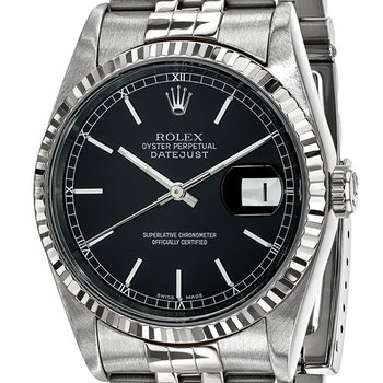 : Pre-Owned Independently Certified Rolex Gents Datejust Steel/18k with Black Dial, and Jubilee Band