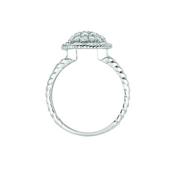 14K Gold 0.63ctw. Diamond Cluster Oval Twist Rope Cocktail Anniversary Ring