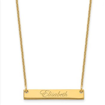 """14k Gold Personalized Nameplate Name Bar with 18""""x1mm Cable Chain Necklace"""