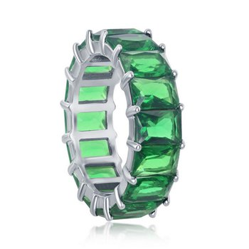 Sterling Silver 6mm Green CZ Emerald-Cut Eternity Band Ring