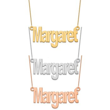 """14k Gold Personalized Nameplate with 18""""x1mm Cable Chain Necklace"""