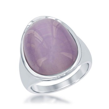 - Simona Sterling Silver Light Violet Oval Cat's Eye Ring - Size 9