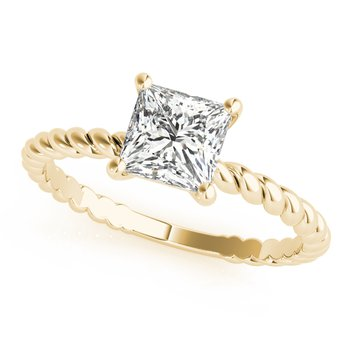 Solitaire Princess Square Shaped Diamond Twisted Rope Design Engagement Ring