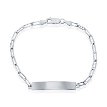 """- Sterling Silver Paperclip Chain ID Bar Identification Link Chain Bracelet - 7.50"""""""