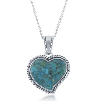 - Sterling Silver Turquoise Heart Oxidized Rope Design Border Pendant with Chain