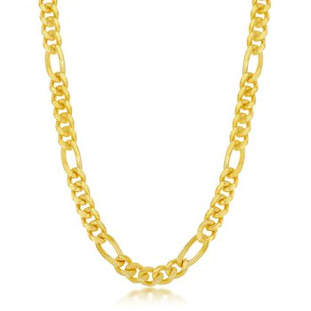 - Sterling Silver 14k Yellow Gold Plated Solid 6mm Mami Cuban Figaro Chain Anklet/Necklace