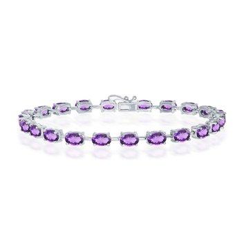 "- Sterling Silver Amethyst Oval Gemstone Link Tennis Bracelet - 7.50"""