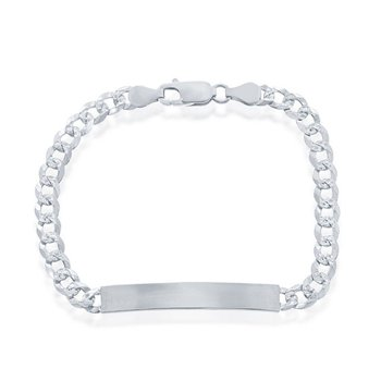 """- Sterling Silver 5mm Pave Curb Chain ID Bar Identification Link Chain Bracelet - 7.50"""""""