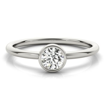 Solitaire Bezel-Set Round 1/3ct. Diamond Anniversary Stackable Ring Band