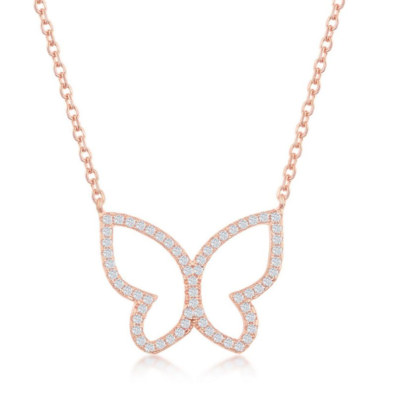 Fashion Jewelry Collection Sterling Silver CZ Butterfly Chain Necklace and Earrings Set