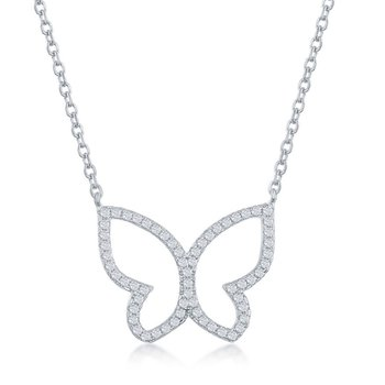 Sterling Silver CZ Butterfly Chain Necklace and Earrings Set