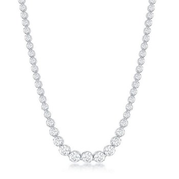 - Sterling Silver Set with Graduated Prong Set CZ Stones Tennis Necklace - 17""