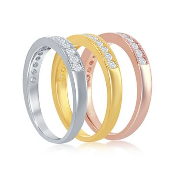 Sterling Silver 14k Gold Plated Tri-Color Round CZ Milgrain Stackable Triple Ring Band