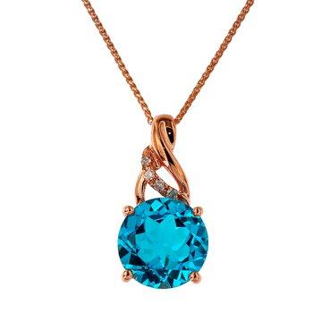 - 14k Rose Gold Diamond and 1.96Ct. Swiss Blue Topaz Gemstone Chain Pendant
