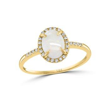 - 14k Yellow Gold 0.11Ctw. Halo Diamond and 8x6mm Australian Opal Gemstone Fancy Cocktail Ring
