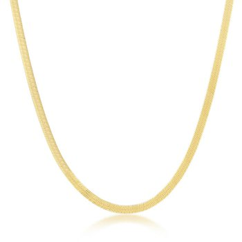 - Sterling Silver 14k Yellow Gold Plated 3mm Herringbone Necklace