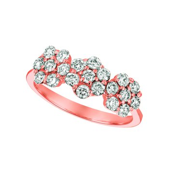 14k Gold Diamond 3-Flowers Floral Cocktail Anniversary Cluster Band Ring