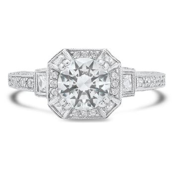 - Hexagon Halo Semi-Mount Round Accented Diamond Engagement Ring