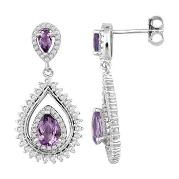 - Bellissima Sterling Silver 1.73ctw. Pear Amethyst Gemstones and 1.55ctw. White Topaz Dangle Drop Earring Pair