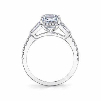 - Three-Stone Diamond Hidden Halo Accented Semi-Mount Engagement Ring