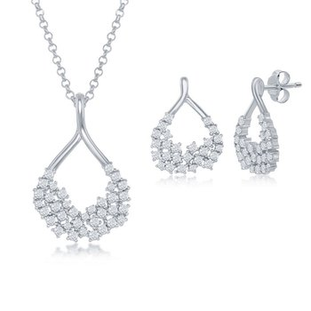 Sterling Silver CZ Open Pear-Shaped Pendant Chain Necklace and Earrings Set