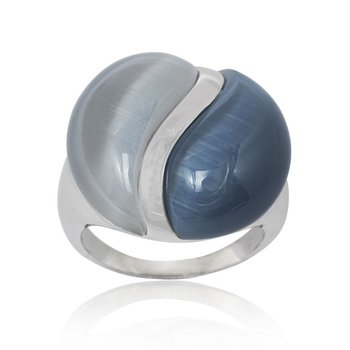 - Simona Sterling Silver Dark and Light Blue Cat's Eye Ring
