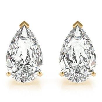 Natural Diamond OR Lab-Grown Diamond Pear Shaped Stud Earrings Pair