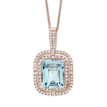 - 14k Rose Gold 0.40Ctw. Diamond Double Halo and 2.79Ct. Aquamarine Gemstone Fancy Chain Pendant