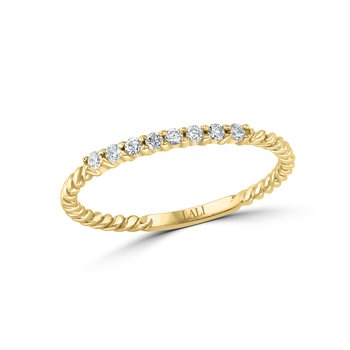 - 14k Gold Round Diamonds Stackable Wedding Anniversary Band Ring