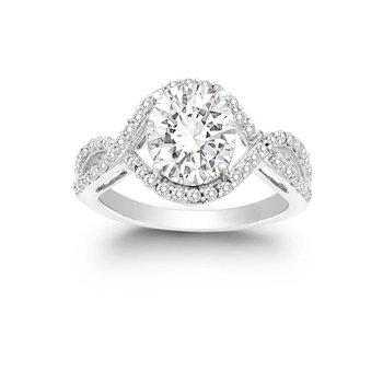 - Sterling Silver CZ Stones Halo Split Shank Engagement Ring