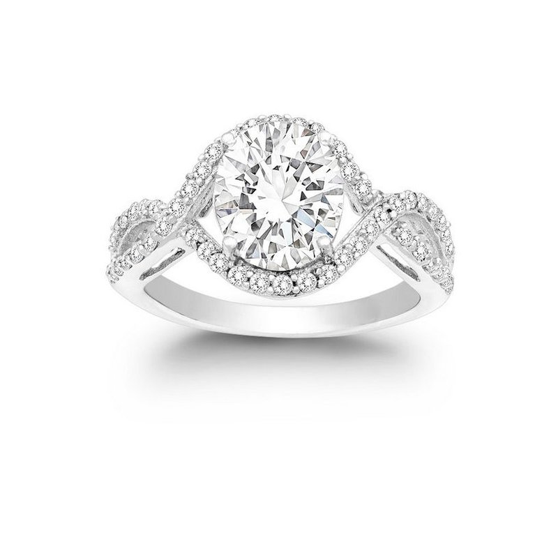 Fashion Jewelry Collection  - Sterling Silver CZ Stones Halo Split Shank Engagement Ring