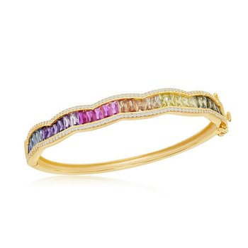 """- Sterling Silver 14k Yellow Gold Plated Micro-Pave White CZ and Center Multi-Color Rainbow Baguette CZ Bangle Bracelet - 7.25"""""""