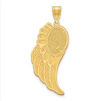 14k Gold Personalized 31x12.7mm Angel Wing Fingerprint Pendant