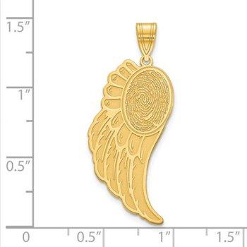 14k Gold Personalized 31x12.7mm Angel Wing Fingerprint Pendant