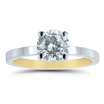 - Semi-Mount Round Solitaire INSIDE OUT Unique & Trending Low Dome Medium Weight Engagement Ring