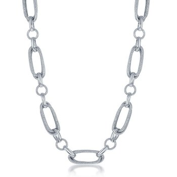 """- Bella Moda Sterling Silver Mixed Rope and Polished Oval Round Link Necklace - 18"""""""